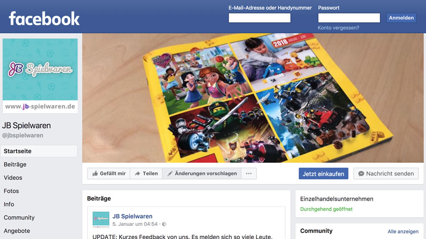 JB Spielwaren auf Facebook